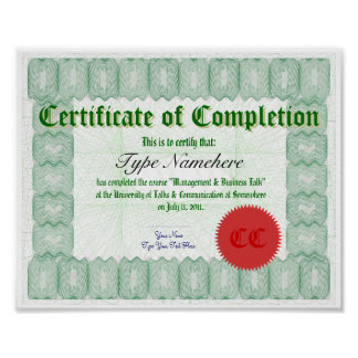 Haga un certificado de la realización imprimir póster