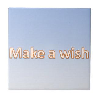 haga un deseo azulejo cuadrado pequeño