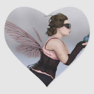 Haga un deseo pegatina de corazon personalizadas