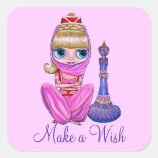 Haga un deseo poca botella rosada de la magia del pegatina cuadrada