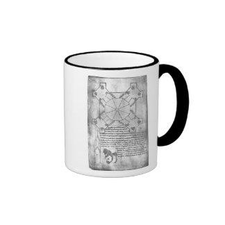 Haga un facsímil la copia de un plan de la torre taza de café