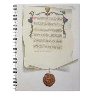 Haga un facsímil la edición de la Carta Magna, pri Libretas Espirales