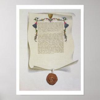 Haga un facsímil la edición de la Carta Magna, pri Póster