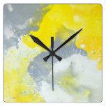 """""""Haga un lío"""" reloj gris y amarillo del arte"""