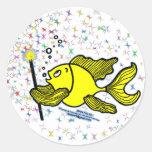 Haga un pescado del deseo pegatina redonda