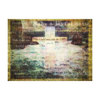 Haga un ruido alegre al SEÑOR - verso de la biblia Impresión En Lona