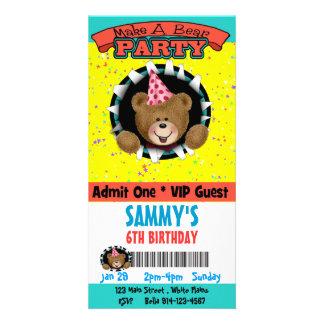 Haga una invitación del fiesta del oso tarjeta personal con foto