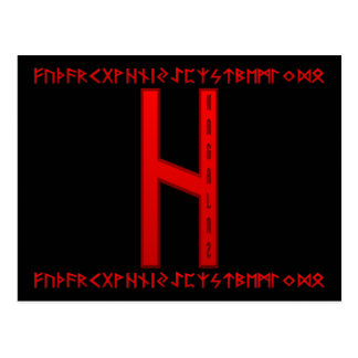Hagalaz Rune red Postcard