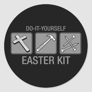hágalo usted mismo equipo de pascua pegatina redonda