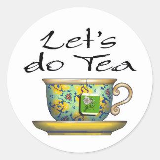 Hagamos el té - 001 pegatina redonda