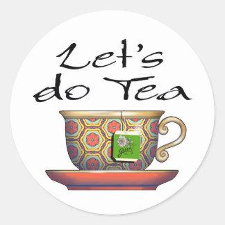 Hagamos el té - 002 pegatina redonda