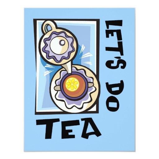 """Hagamos el té invitación 4.25"""" x 5.5"""""""