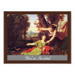 Hagar And Ishmael In The Desert By Colombel Nicola 4.25x5.5 Paper Invitation Card