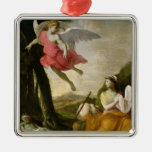 Hagar and Ishmael Rescued by the Angel, c.1648 Square Metal Christmas Ornament