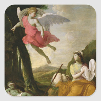 Hagar and Ishmael Rescued by the Angel, c.1648 Square Sticker