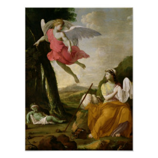 Hagar e Ishmael rescatados por el ángel, c.1648 Posters