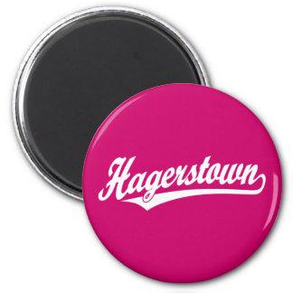 Hagerstown script logo in white 2 inch round magnet