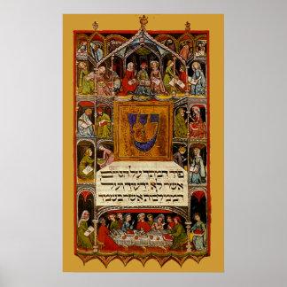 Haggadah del siglo XIV del Passover Póster