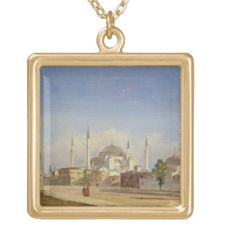 Haghia Sophia, Constantinople, 1843 (oil on canvas Gold Plated Necklace