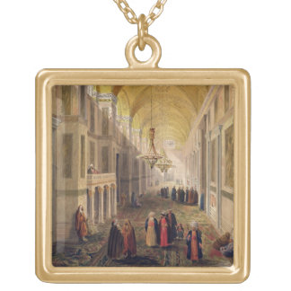 Haghia Sophia, plate 2: the narthex, engraved by L Gold Plated Necklace