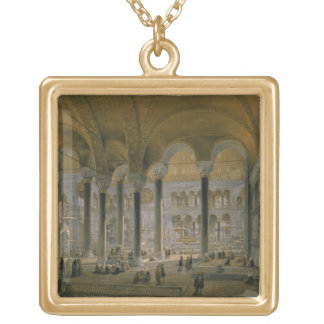 Haghia Sophia, plate 6: the north nave, engraved b Gold Plated Necklace
