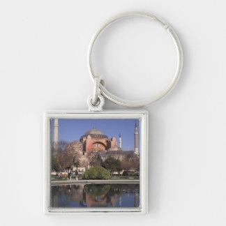 Hagia Sophia, Estambul, Turquía Llavero Cuadrado Plateado