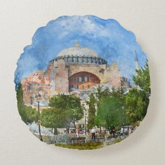 Hagia Sophia in Sultanahmet, Istanbul Round Pillow
