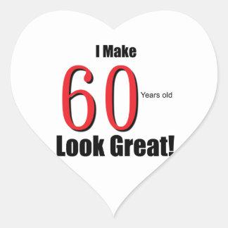 ¡Hago 60 años de la mirada grandes! Pegatina En Forma De Corazón