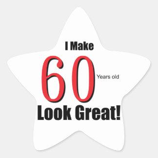 ¡Hago 60 años de la mirada grandes! Pegatina En Forma De Estrella