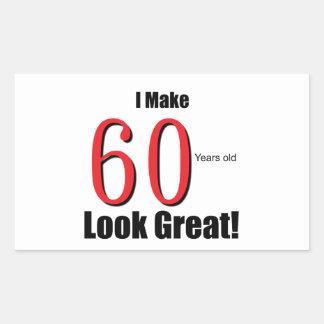 ¡Hago 60 años de la mirada grandes! Pegatina Rectangular