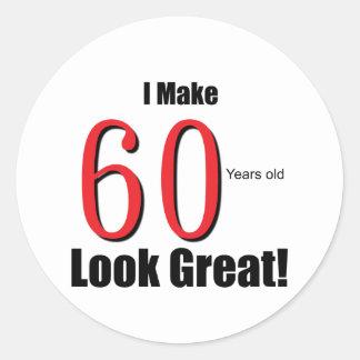 ¡Hago 60 años de la mirada grandes! Pegatina Redonda