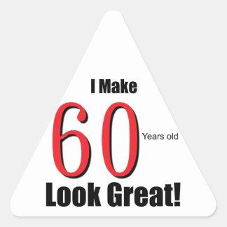 ¡Hago 60 años de la mirada grandes! Pegatina Triangular