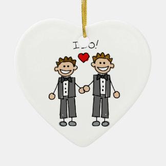 Hago a dos novios adorno navideño de cerámica en forma de corazón