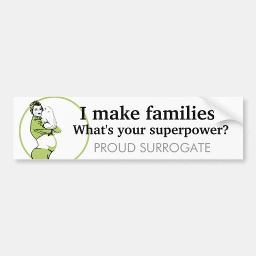 Hago a las familias. ¿Cuál es su superpotencia? Etiqueta De Parachoque