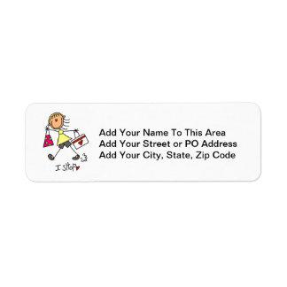 Hago compras figura chica del palillo etiqueta de remitente