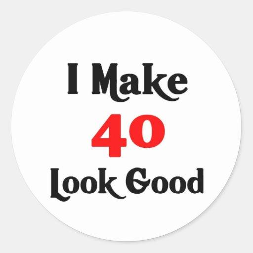 Hago la mirada 40 buena pegatina redonda