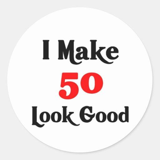 Hago la mirada 50 buena pegatina redonda