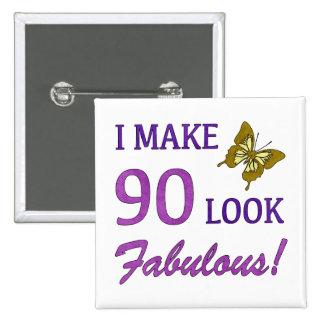 ¡Hago la mirada 90 fabulosa! Pin Cuadrado