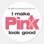 Hago mirada rosada buena pegatina redonda