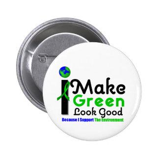 Hago mirada verde buena conciencia del ambiente pins