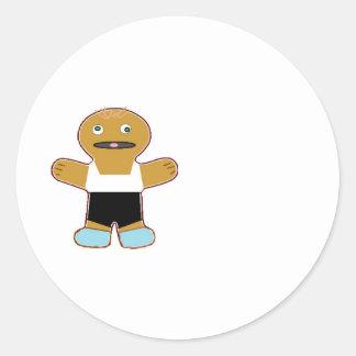 haha ginger bread man classic round sticker