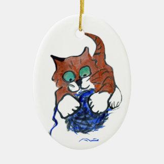 hahahaha take that Blue Yarn Ceramic Ornament