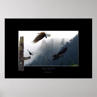 Haida Art-themed Raven, Eagle & Totem Pole Poster