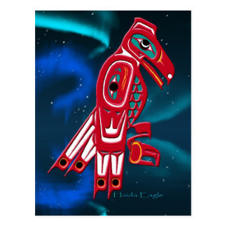 Haida Eagle & Aurora Native American Art Design Postcard
