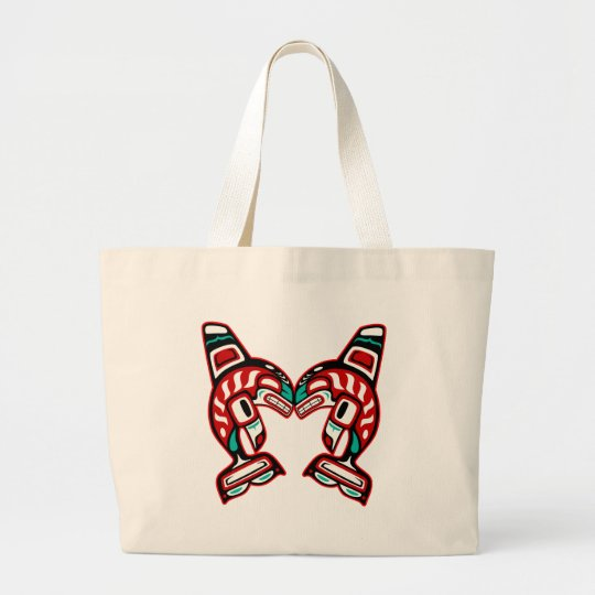 Haida Indian Killer Whales Large Tote Bag