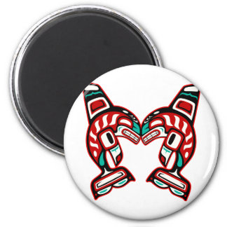 Haida Indian Killer Whales Orca 2 Inch Round Magnet