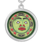 Haida Native American Indian Moon Mask Round Pendant Necklace