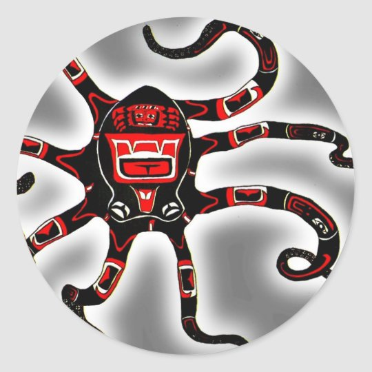 Haida Octopi Classic Round Sticker