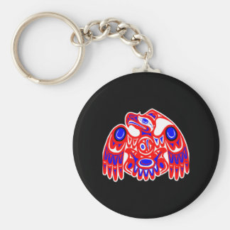Haida Thunderbird Black Basic Round Button Keychain