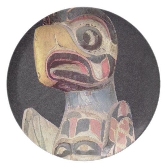 Haida 'Thunderbird' statue (painted wood) Melamine Plate